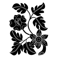 Black flower illustration on a white background. Vector.