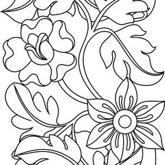 Black flower illustration on a white background. Vector.