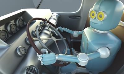 Retro Robot drave car. Autonomous transport and self-driving cars concept