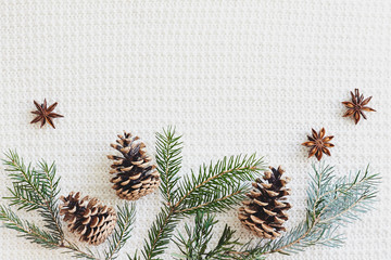 Christmas and New Year composition. Fir branches with cones, star anise on knitted white background