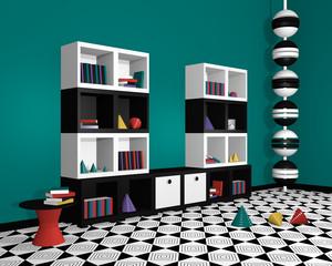 modernes Wohnen: Regal mit Dekorationen in schwarz weiß aus Seitenansicht. 3d render