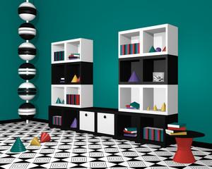 modernes Wohnen: Regal mit Dekorationen in schwarz weiß. 3d render