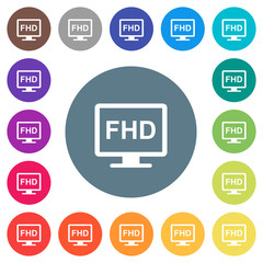 Full HD display flat white icons on round color backgrounds