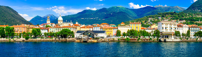 Picturesque lake Lago Maggiore. beautiful Intra town, North of Italy Wall mural