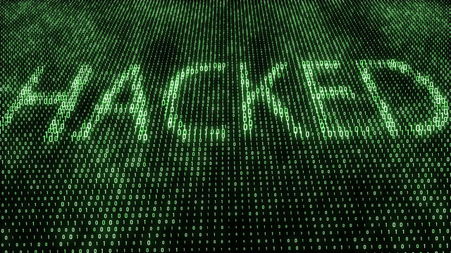 Abstract digital background. Binary code. Hacked. Green color. 3D rendering.
