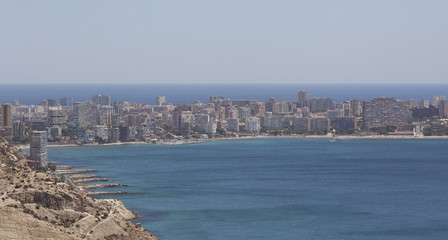 View of the sea and the beach of Alicante city of Spain from Santa Barbara Castle