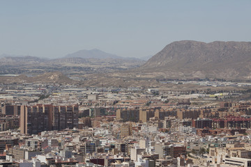 View of Alicante city in Spain from the fortress of Santa Barbara
