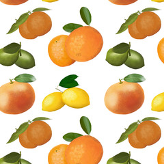 Pattern of citrus fruits on a white background.