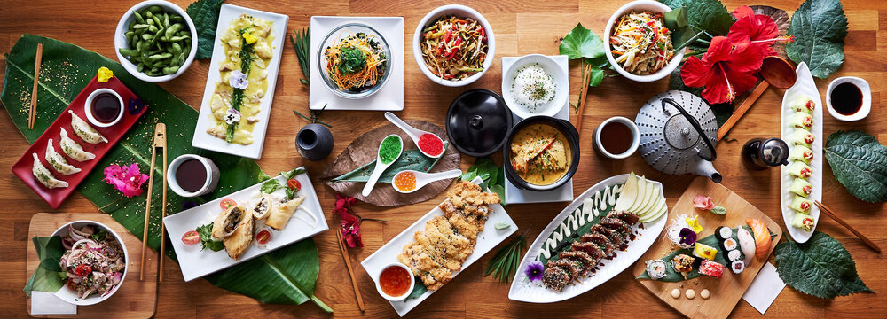 Top angle shot of traditional Japanese food dishes