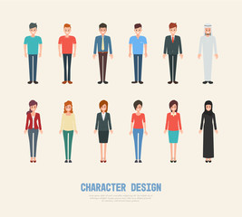 people character design. cartoon flat vector. business man and woman in job.