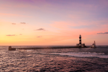 Sunset on the lighthouse. Daedalus reef.