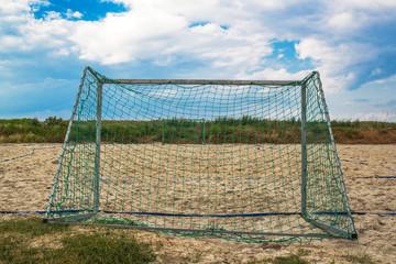 Beach soccer goal on sand