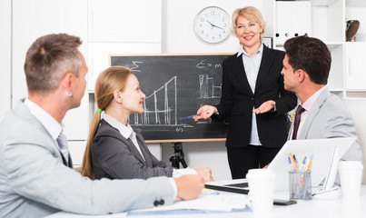 Business woman presenting business strategy to partners