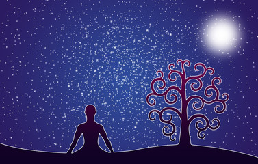 Silhouette of yoga in the lotus position and the tree of life against the background of the night starry sky. The sun or the moon. Artistic background.