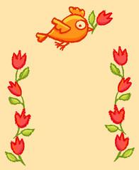 Cute little birds frame