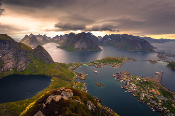 Panoramic view of the fishing town of Reine from the top of the Reinebringen viewpoint in the Lofoten Islands, Norway