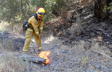 A firefighter hits a burning log with an axe, causing a puff of flame, while knocking down hotspots on the Ranch Fire north of Upper Lake, California