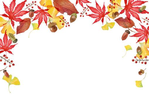 秋の紅葉 フレーム背景 水彩 イラスト
