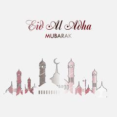 Eid Al Adha greeting card with hand drawn mosque. Vector.