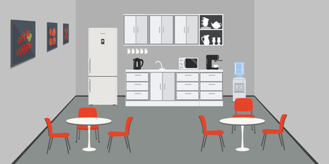 Office kitchen. Dining room in office. There are kitchen cabinets, a fridge, a table, red chairs, a microwave, a kettle and coffee machine in the image. There are pictures with fruits on the wall.