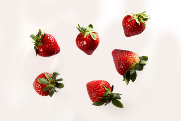 Flying fresh red isolated strawberry fruits on them on a white background Wall mural