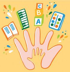 symbolic image: adult, child and creativity