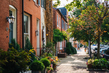 Row houses in Federal Hill, Baltimore, Maryland