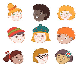 faces of children of different nationalities