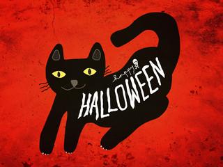 Wall Mural - Halloween black cat cartoon painting on dark red grunge background illustration