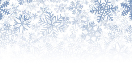 Christmas background of many layers of snowflakes of different shapes, sizes and transparency. Gradient from blue to white