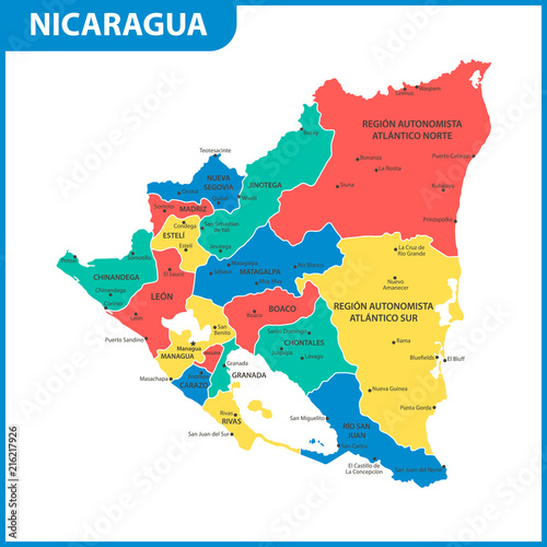 The detailed map of Nicaragua with regions or states and cities ...
