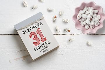 Abreisskalender mit dem Datum 31.12. für Silvester 2018