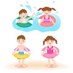 海水浴ではしゃぐ子ども浮き輪の子ども