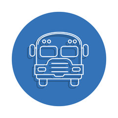 school bus badge icon. Element of education for mobile concept and web apps icon. Thin line icon with shadow in badge for website design and development, app development