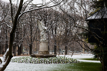 Leconte de Lisle statue at the Luxembourg Palace garden in a freezing winter day day just before spring