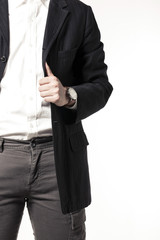 business man hand closeup isolated white.