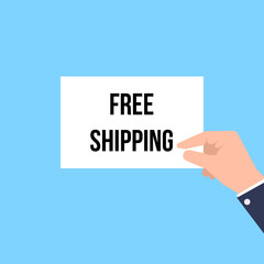 Man showing paper FREE SHIPPING text