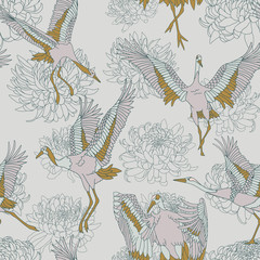 Japanese pattern. Seamless vector ornament with traditional motives. Japanese pattern with storks and chrysanthemum