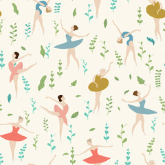 Seamless pattern of ballet dancers with plants in different poses. on a light background