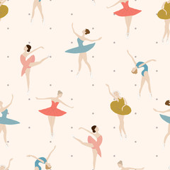 Seamless pattern of ballet dancers in different poses. on a light background