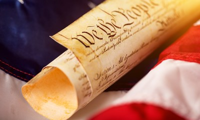 Roll of vintage US Constitution, Patriotism concept
