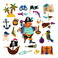 Pirate vector piratic character buccaneer man in pirating costume in hat with sword illustration set of piracy signs and ship or sailboat isolated on white background