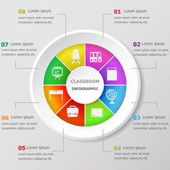 Infographic design template with classroom icons