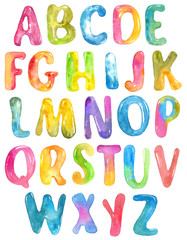ABC, alphabet watercolor letters over white