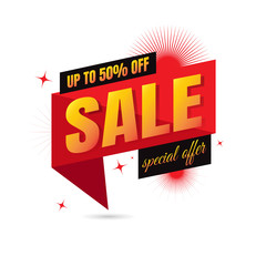 Sale off discount text 50%. vector. on white background. banner. marketing. Business