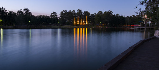 Beautiful lake in Springfield Lakes at dusk.
