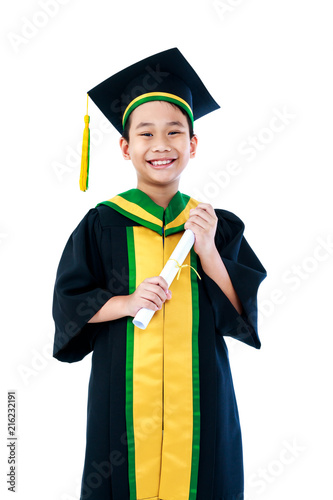 Asian Child In Graduation Gown With Diploma Certificate Smiling