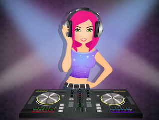 illustration of DJ girl