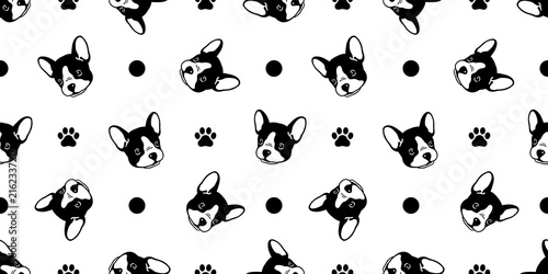 Dog Seamless Pattern French Bulldog Vector Polka Dot Scarf Isolated Cartoon Tile Background Paw Bow Tie