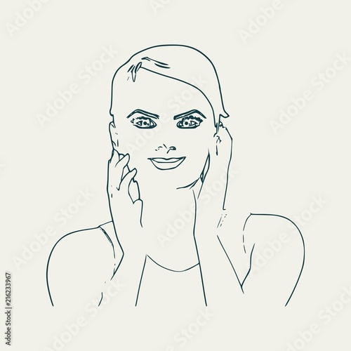 face front view elegant outline silhouette of a female head